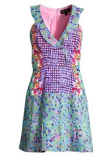 Saloni Amy Mixed-Print Silk Flare Dress