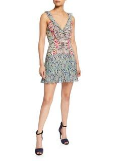 Saloni Amy Sleeveless Silk Short Dress  Multi