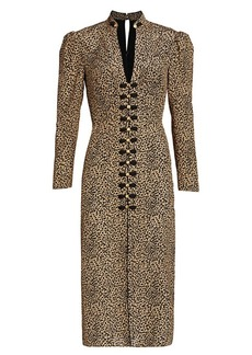 Saloni Andrea Leopard Print Silk Sheath Dress