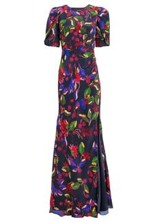 Saloni Annie B Floral Silk Gown