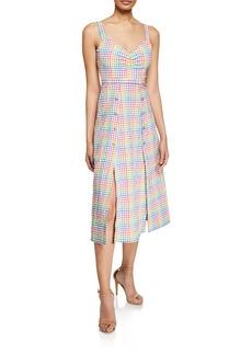 Saloni Anya Sleeveless Gingham Cutaway Midi Dress