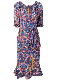 Saloni banana leaf print dress