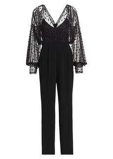 Saloni Bernadette Sheer Polka Dot Jumpsuit