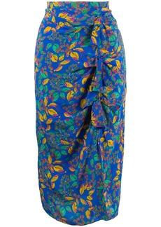 Saloni Berry Leaf-print silk skirt