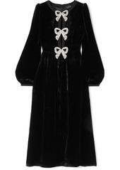 Saloni Camille Bow-embellished Velvet Midi Dress