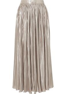 Saloni Camille Pleated Metallic Jersey Midi Skirt