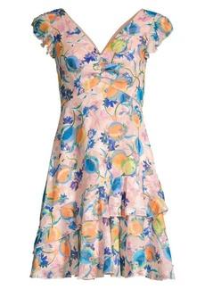 Saloni Catia Peach Print A-Line Dress