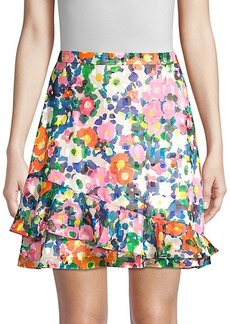 Saloni Cece Ruffled Floral Skirt