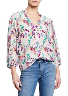 Saloni Chloe Floral Silk Button-Up Blouse