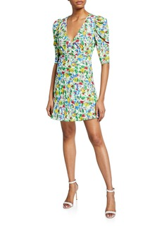 Saloni Colette Floral-Print Mini Dress