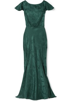 Saloni Daphne Silk-satin Jacquard Maxi Dress