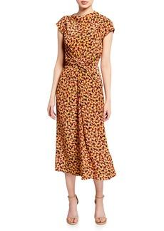 Saloni Demi Printed Twist-Front Midi Dress