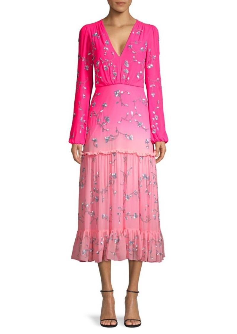 Saloni Devon Colorblock Silk Sequin Dress