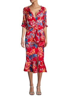 Saloni Devore Floral Stretch-Silk Wrap Dress