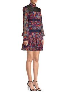 Saloni Dina Tropical Print Drop Waist Dress