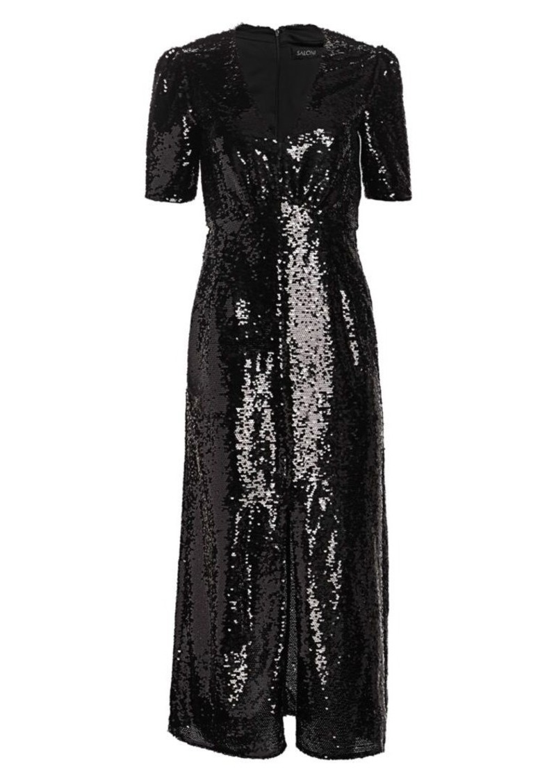 Saloni Eden Sequin Silk Midi Sheath Dress