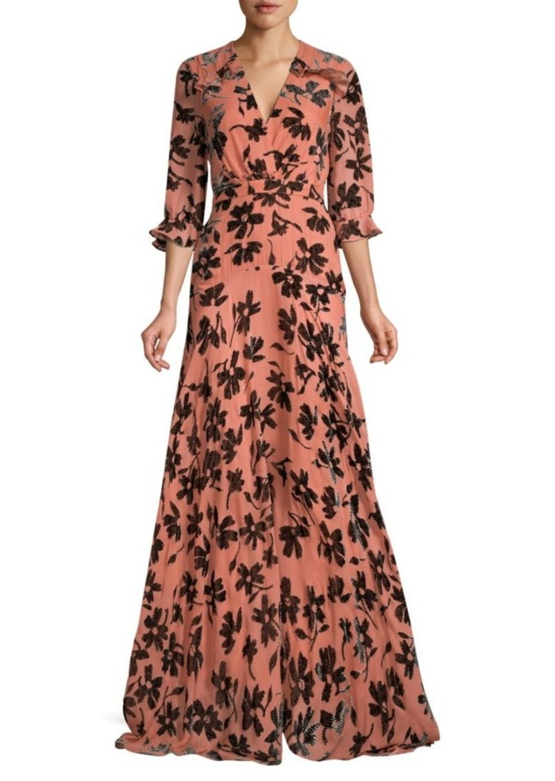 Saloni Edith Burnout Velvet Maxi Dress