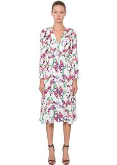 Saloni Eve Floral Printed Silk Crepe Midi Dress