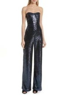 Saloni Faux Feather Trim Satin Backed Crepe Strapless Jumpsuit