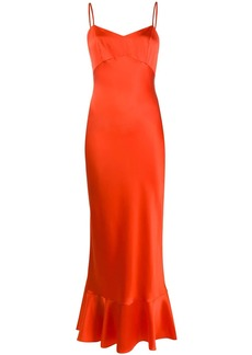 Saloni fitted slip dress