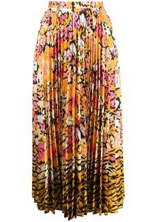 Saloni floral print pleated skirt