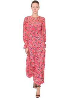 Saloni Floral Printed Silk Chiffon Maxi Dress