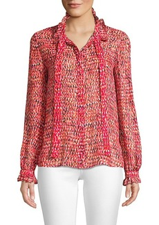 Saloni Floral Ruffle-Trimmed Top