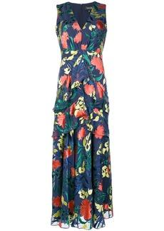 Saloni floral ruffled long-length dress