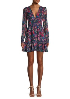 Saloni Floral Silk A-line Ruffled Dress