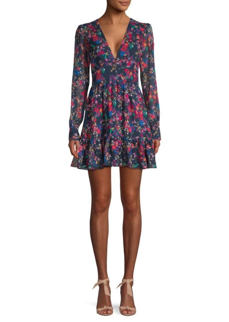 Saloni Floral Silk A-line Ruffled Dress