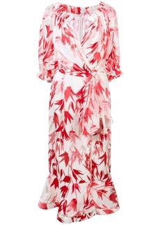 Saloni floral wrap midi dress