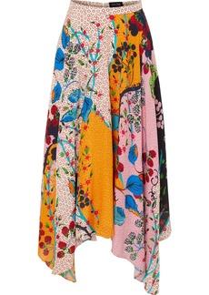 Saloni Freja Asymmetric Floral-print Silk Crepe De Chine Midi Skirt