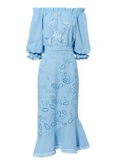 Saloni Grace Off Shoulder Midi Dress