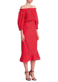 Saloni Grace Printed Off-The-Shoulder Midi Dress