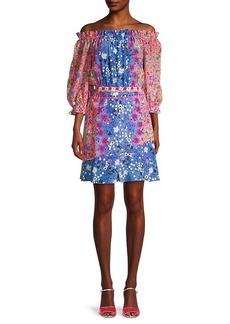 Saloni Grace Silk Floral Mini Dress