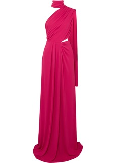 Saloni Venyx Honey One-shoulder Draped Stretch-jersey Maxi Dress