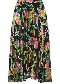 Saloni Ida Floral-print Devoré Silk-blend Satin Midi Skirt