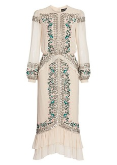 Saloni Isa Bead & Embroidery Silk Blouson Midi Dress