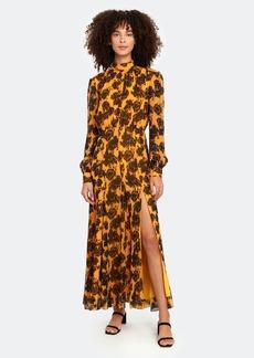 Saloni Jacqui Silk Mock Neck Maxi Dress
