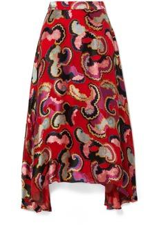 Saloni Judith Appliquéd Printed Satin Midi Skirt