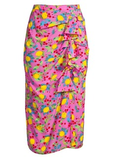Saloni Kelly Bow-Front Silk Skirt