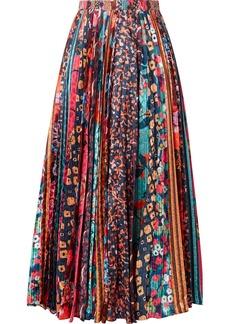 Saloni Kim Pleated Printed Satin Midi Skirt