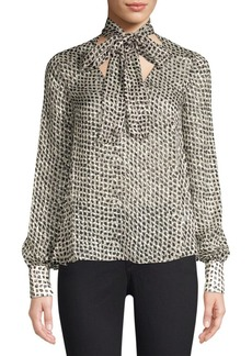 Saloni Lauren Diamond Print Tie Neck Blouse