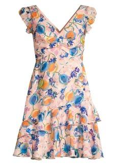 Saloni Lea Floral Silk A-Line Dress