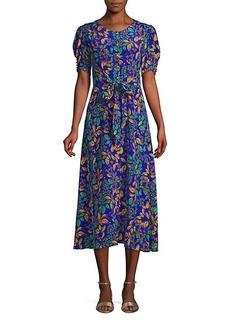 Saloni Lea Leaf-Print A-Line Midi Dress