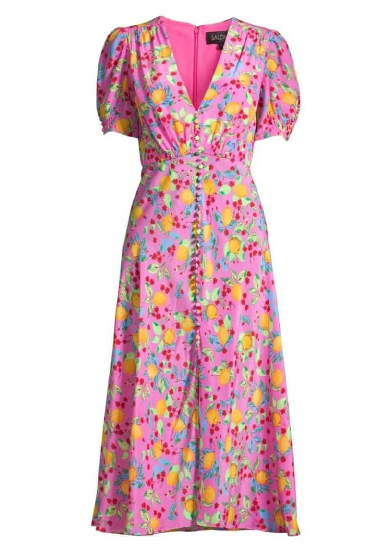 Saloni Lea Lemon Silk A-Line Midi Dress
