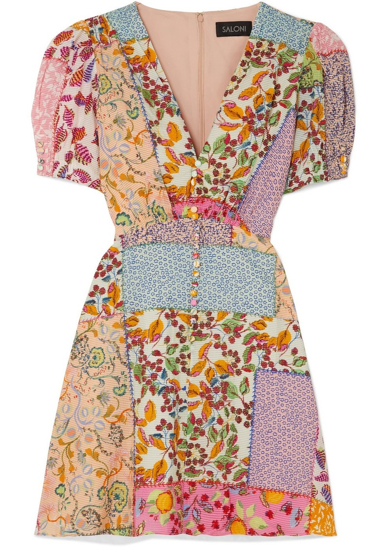 Saloni Lea Printed Cotton-blend Seersucker Mini Dress