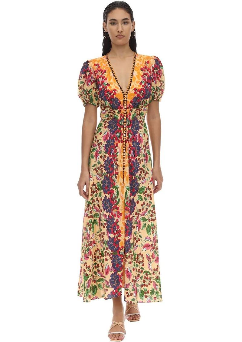 Saloni Lea Silk Crepe Midi Dress