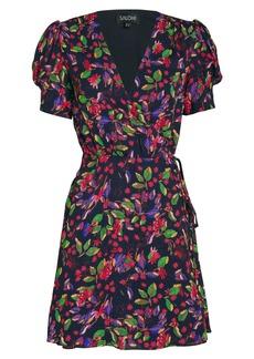 Saloni Lea Silk Floral Wrap Dress