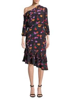 Saloni Lexie Off-the-Shoulder Floral-Print Silk Dress